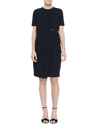 Short-Sleeve Side-Belt Shift Dress