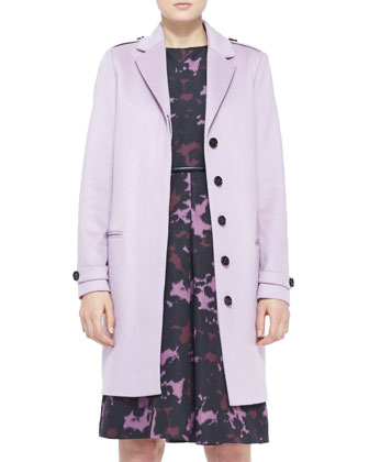 Cashmere Topper Coat, Printed Front-Pleat Dress & Equestrian Leather Waist Belt