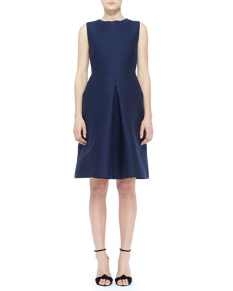 Sleeveless Silk Front-Pleat Dress and Equestrian Leather Waist Belt