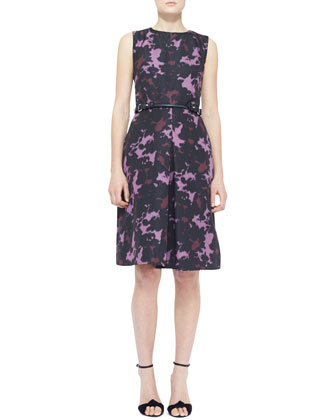 Sleeveless Printed Front-Pleat Dress