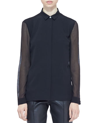 Snap-Front Boyfriend Blazer, Sheer-Panel Blouse & Paneled Leather Leggings