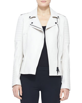Leather Moto Jacket and Side-Stripe Leather Leggings