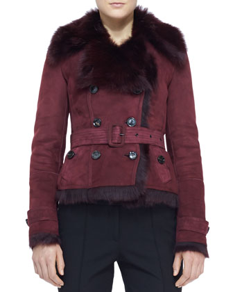 Belted Shearling-Lined Jacket