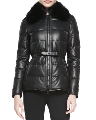 Leather Fur-Collar Puffer Jacket