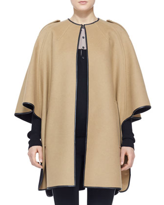 Leather-Trim Cape Coat