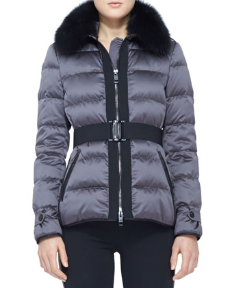 Belted Fur-Collar Puffer Jacket and Side-Stripe Leather Leggings