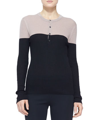 Colorblock Cashmere Henley Top