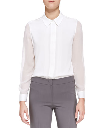 Featherweight-Wool One-Button Blazer, Pencil Skirt & Sheer Long-Sleeve ...