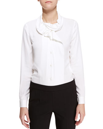 Crepe De Chine Ruffle-Collar/Lapel Blouse
