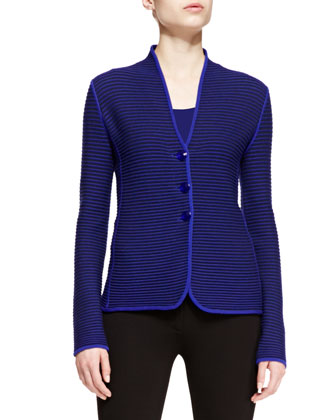Ribbed-Knit Button-Front Jacket
