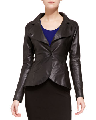Lambskin One-Button Wide-Lapel Blazer