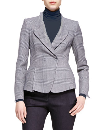 Drape-Lapel Prince of Wales Jacket, Melange-Jersey Turtleneck & Denim ...