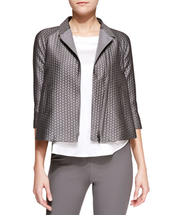 Jacquard-Quilt Zip-Front Swing Jacket & Stretch-Satin Short-Sleeve Tee