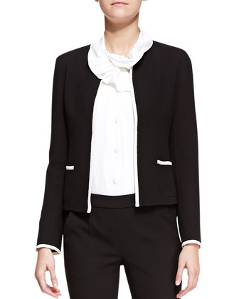 Crepe Contrast-Trim Collarless Jacket, Crepe Ruffle-Collar/Lapel Blouse & ...