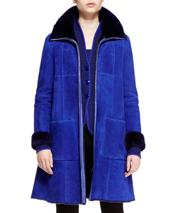 Shearling Long Trapeze Coat, Ribbed Button-Front Jacket & Stretch Jersey ...