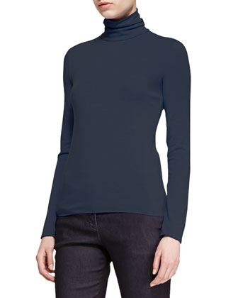 Melange-Jersey Turtleneck
