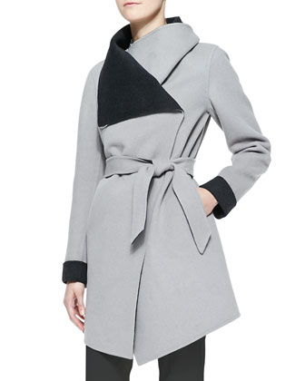 Contrast-Lined Oversize-Collared Coat & Long-Sleeve Button-Front Geometric ...