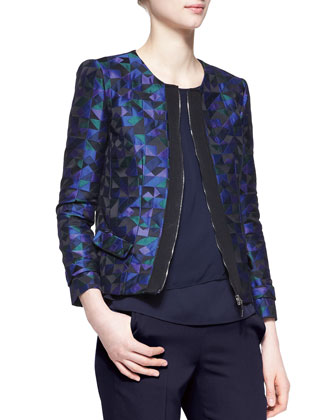 Harlequin Jacquard Zip-Front Jacket, Sleeveless Draped CDC Blouse & Side ...
