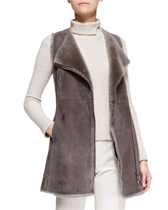 Zip-Front Shearling Long Vest, Ribbed-Knit Turtleneck & Tech-Cotton Slim Pants