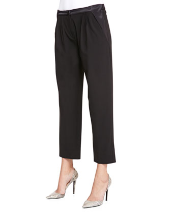 Wool Pleated Cropped Pants