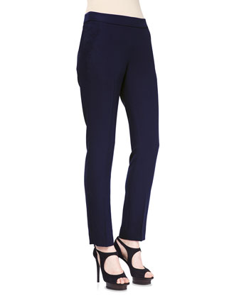 Side Zip Techno Cady Slim Pants