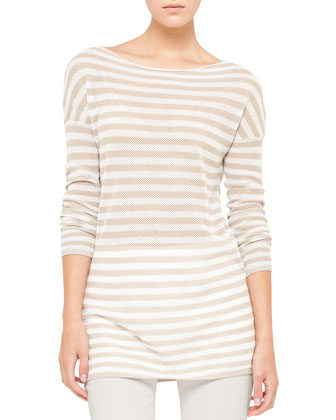 Striped Mesh Tunic, Cream/Pebble