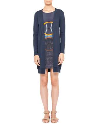 Diving Board-Print Dress with Faux Cardigan, Denim Blue