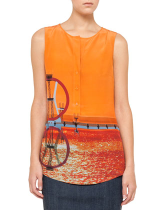 Sleeveless Diving Board-Print Blouse, Sunset