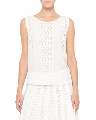 Lace Sleeveless Top, Cream
