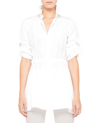 Cotton Blouse with Drawstring Waist, White