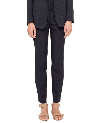 Perforated Ankle Pants, Navy