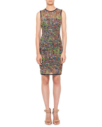 Stadium-Print Mesh Dress, Multicolor