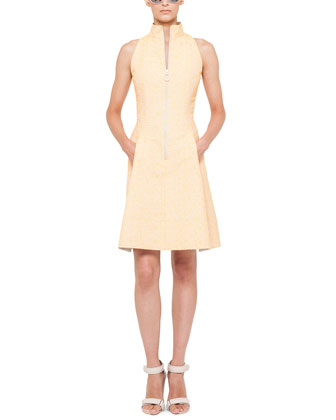 Tweed Zip-Front Mock-Collar Dress