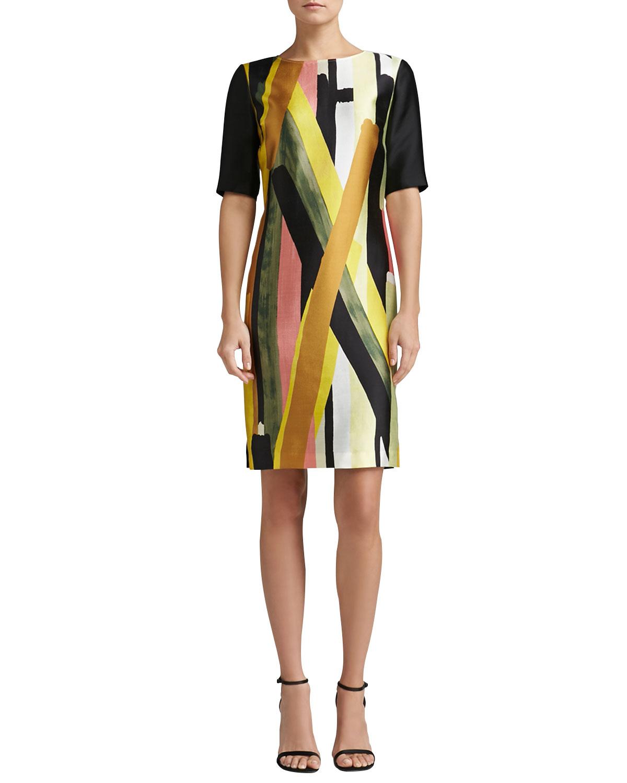 Womens Layered Stripe Print Mikado Elbow Sleeve Dress   St. John Collection