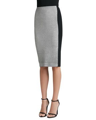 Birdseye Tweed Knit Skirt with Contrast Crepe Marocain