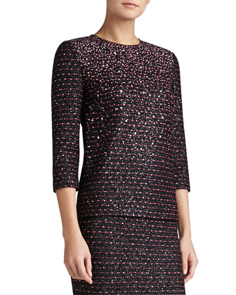 Multi Texture Knit Sleeve Top with Sequins