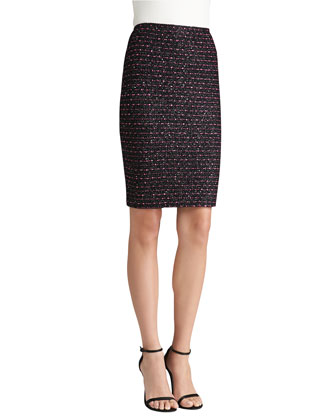 Multi Texture Knit Pencil Skirt