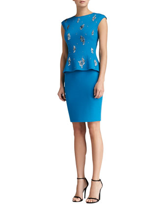 Milano Knit Faux Two-Piece Cap Sleeve Dress with Hand Beading