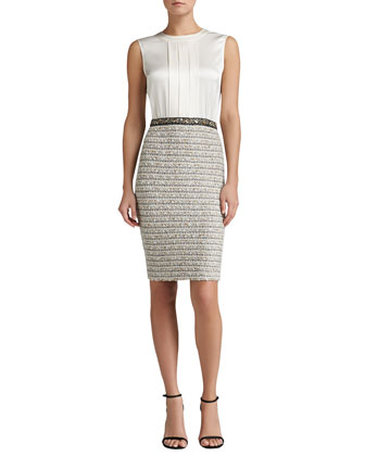 Ribbon Stripe Knit Dress with Liquid Satin Bodice