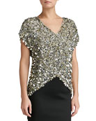 All-Over Sequin V-Neck Cap Sleeve Top