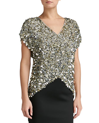 Sequined V-Neck Cap Sleeve Top & Stretch Satin Pencil Skirt