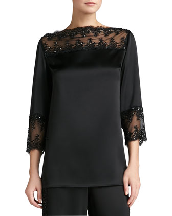 Liquid Satin Bateau Neck 3/4-Sleeve Tunic with Beaded Lace