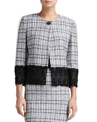 Mini Plaid Knit Jacket, Pencil Skirt & Liquid Satin Tank