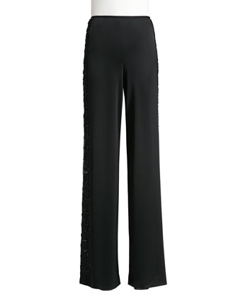 Liquid Satin Wide Leg Pants with Beaded Lace Side Panels