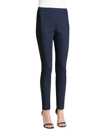 Soft Stretch Denim Leggings with Ponte Side Panels