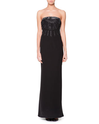 Strapless Beaded Origami Folded Gown, Black