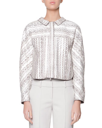 Snakeskin/Bonded Jersey Jacket, Cashmere Jersey Top & Satin Side-Striped ...
