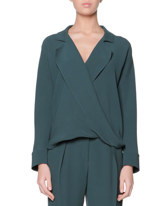 Long-Sleeve Silk Blouse & Micro Pleat Silk Cady Ankle Pants