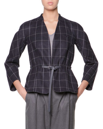 Raglan-Sleeve Windowpane Check Jacket, Long-Sleeve Sheer-Back Top & Micro ...