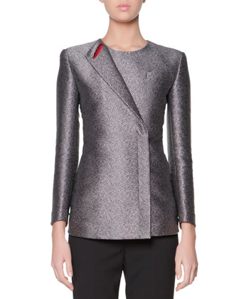 Iconic One-Lapel Metallic Jacket, Black/White